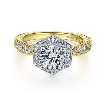 White-Yellow Gold Hexagonal Halo Round Diamond Semi Mounting