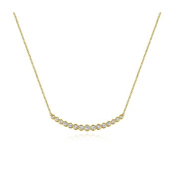 Curved Bar Necklace with Bezel Set Round Diamonds