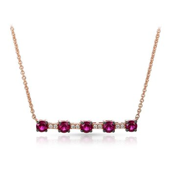 Rose Gold Ruby and Diamond Necklace