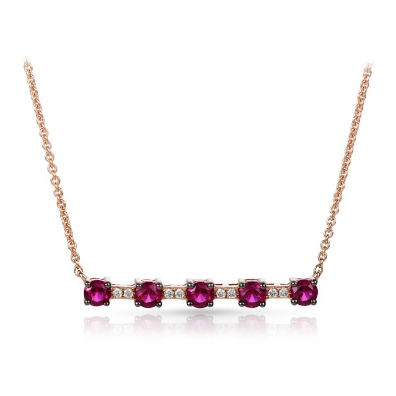 Lauray's Signature Collection Rose Gold Ruby and Diamond Necklace