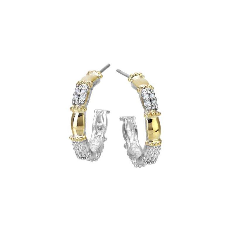 Alwand Vahan Yellow Gold and Sterling Silver Diamond Hoop Earrings