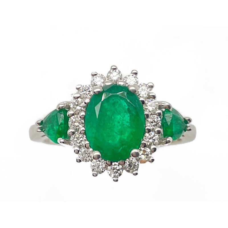 Lauray's Signature Collection White Gold Emerald and Diamond Ring