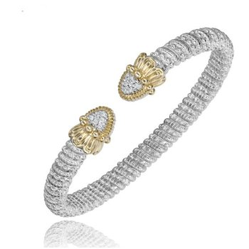 Yellow Gold and Sterling Silver Diamond Open Bangle Bracelet