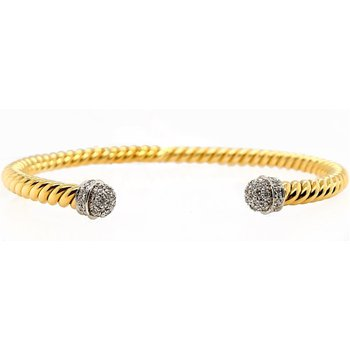 Yellow Gold Open Diamond Bangle