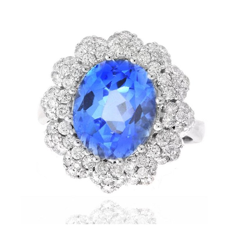 Lauray's Signature Collection White Gold Blue Topaz and Diamond Ring