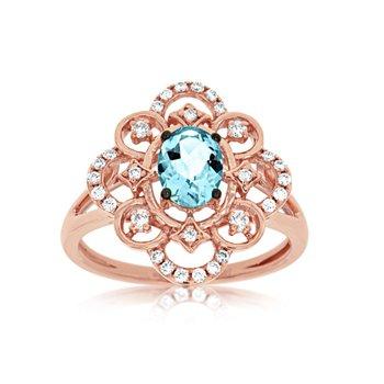 Rose Gold Aquamarine and Diamond Ring