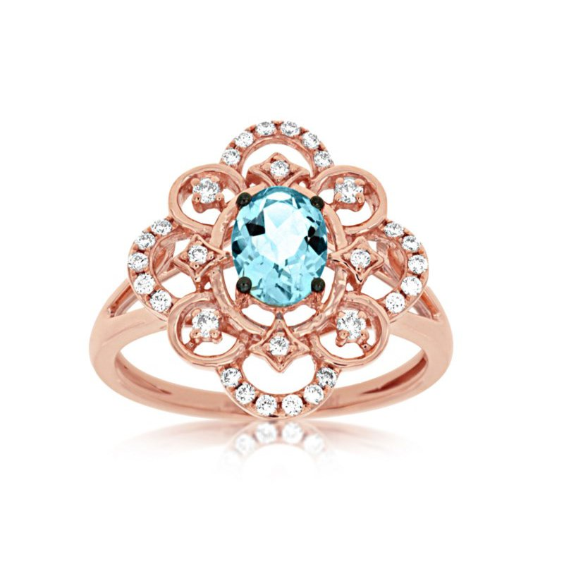 Lauray's Signature Collection Rose Gold Aquamarine and Diamond Ring