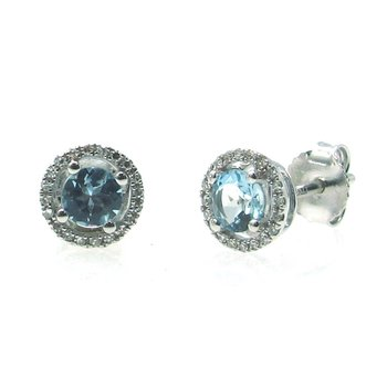 March Birthstone Aquamarine Studs