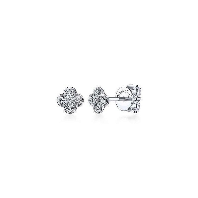 Gabriel Catalog White Gold Diamond Flower Stud Earrings