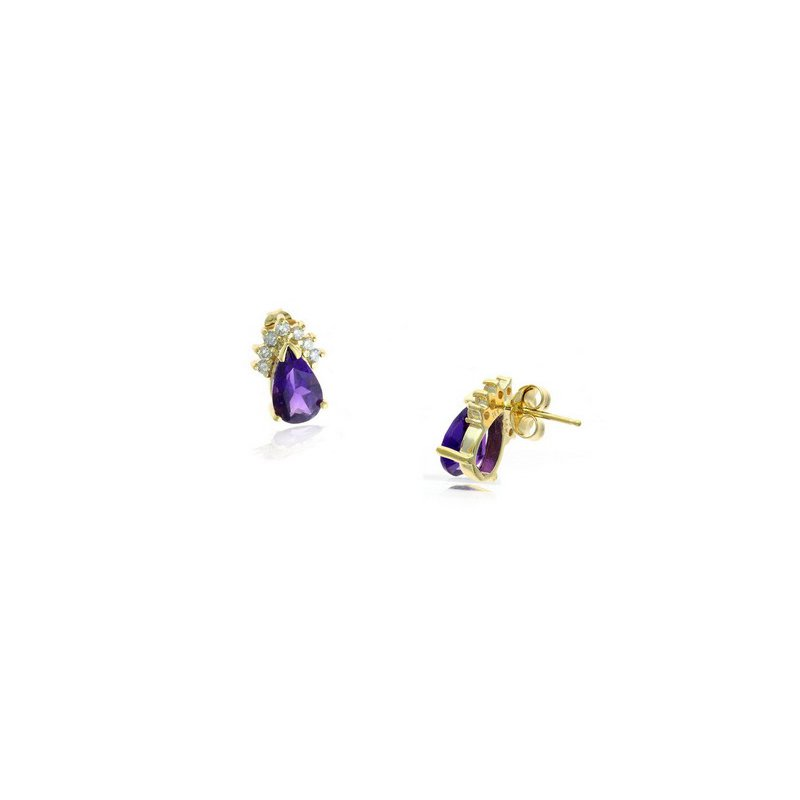 Lauray's Signature Collection Yellow Gold Amethyst and Diamond Earrings
