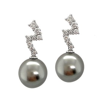 White Gold Black Pearl and Diamond Earrings