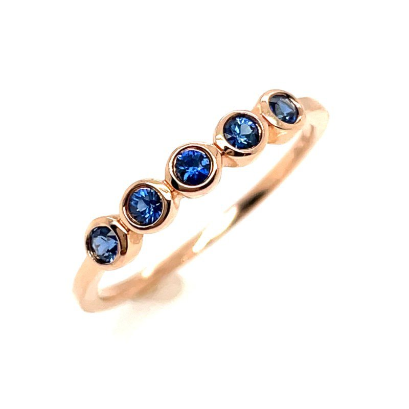Shy Creation Rose Gold Blue Sapphire Ring