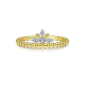 Beaded Diamond Crown Ring