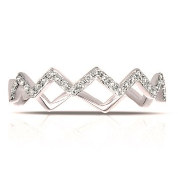 White Gold Chevron Stackable Diamond Ring