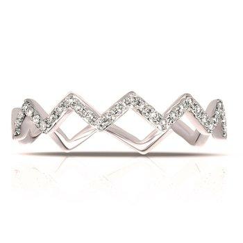 White Gold Chevron Stackable Diamond Ring