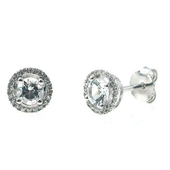 April Birthstone White Topaz Studs