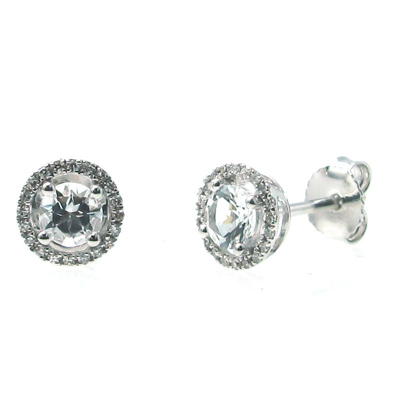 Lauray's Signature Collection April Birthstone White Topaz Studs