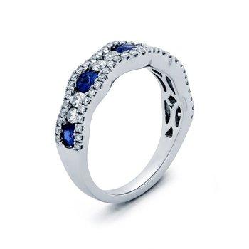 White Gold Diamond and Sapphire Band