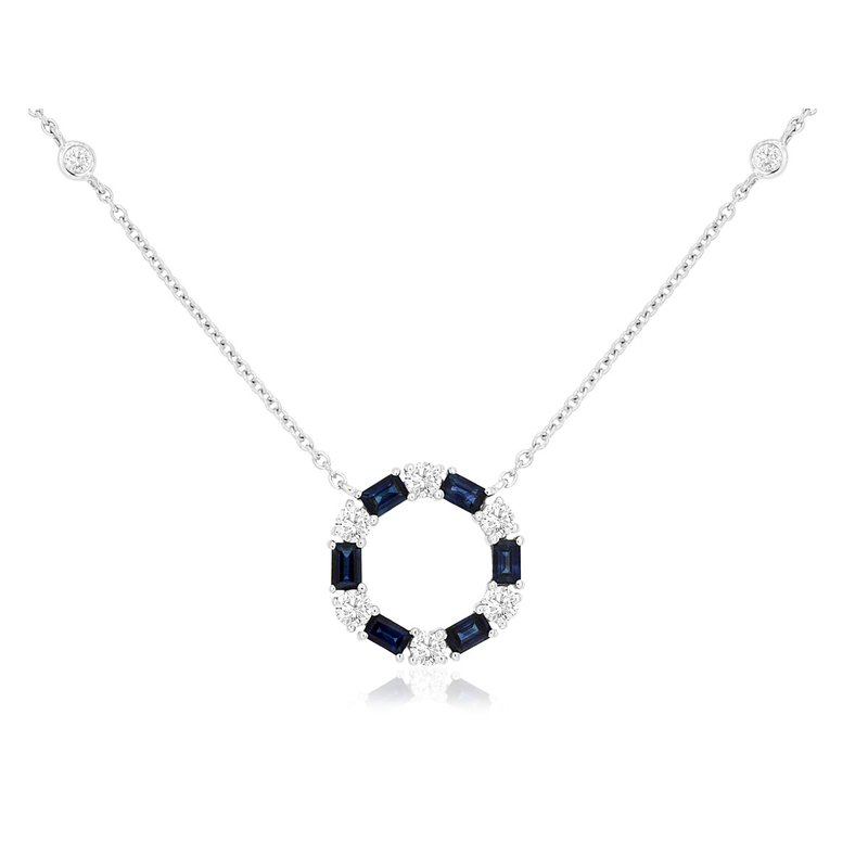 Lauray's Signature Collection Diamond and Sapphire Circle Necklace