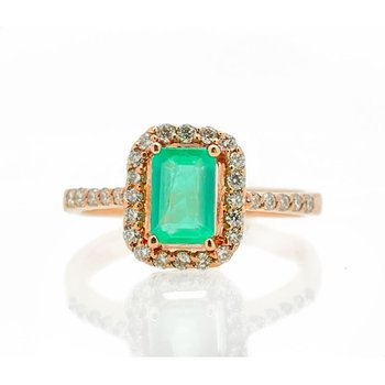 Rose Gold Emerald and Diamond Ring
