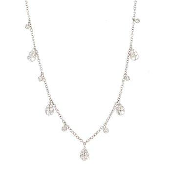 White Gold Pear Shape Dangle Necklace