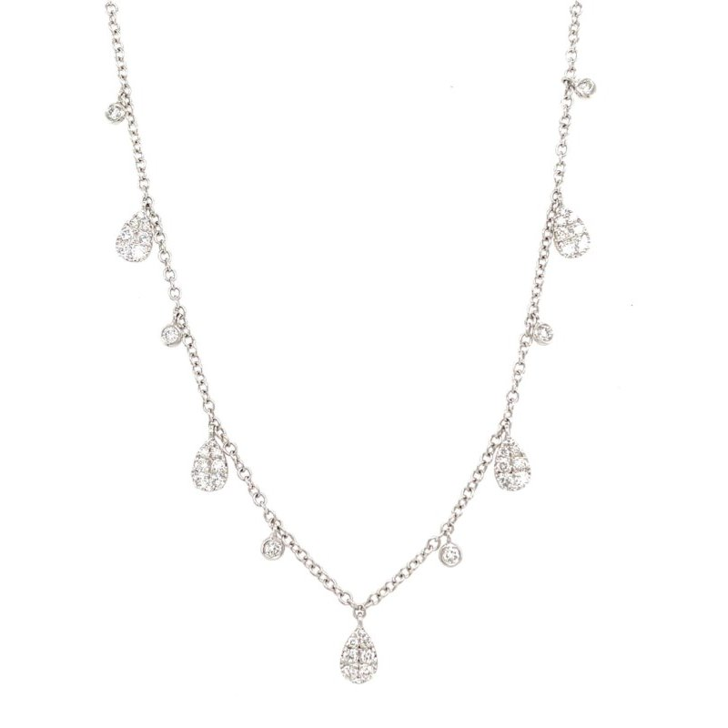 Lauray's Signature Collection White Gold Pear Shape Dangle Necklace