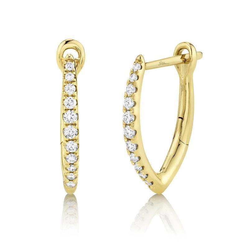 Shy Creation Yellow Gold Diamond Huggie Hoop Earrings