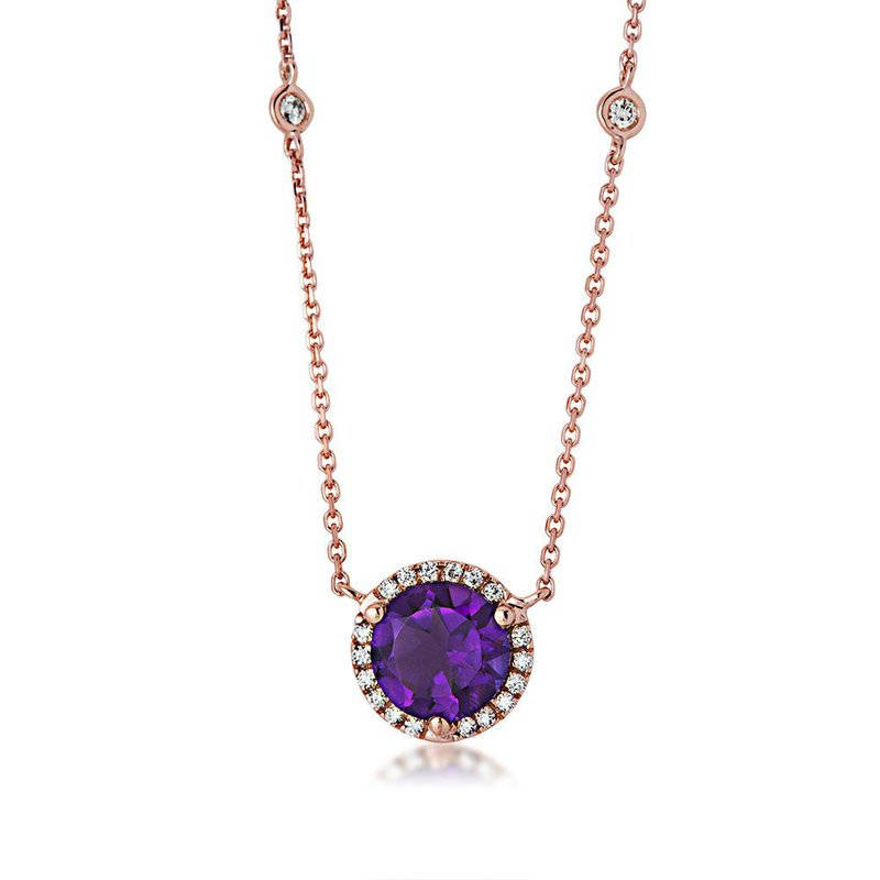 Lauray's Signature Collection Rose Gold Amethyst and Diamond Necklace