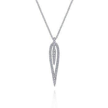 White Gold Open Teardrop Diamond Pendant Necklace