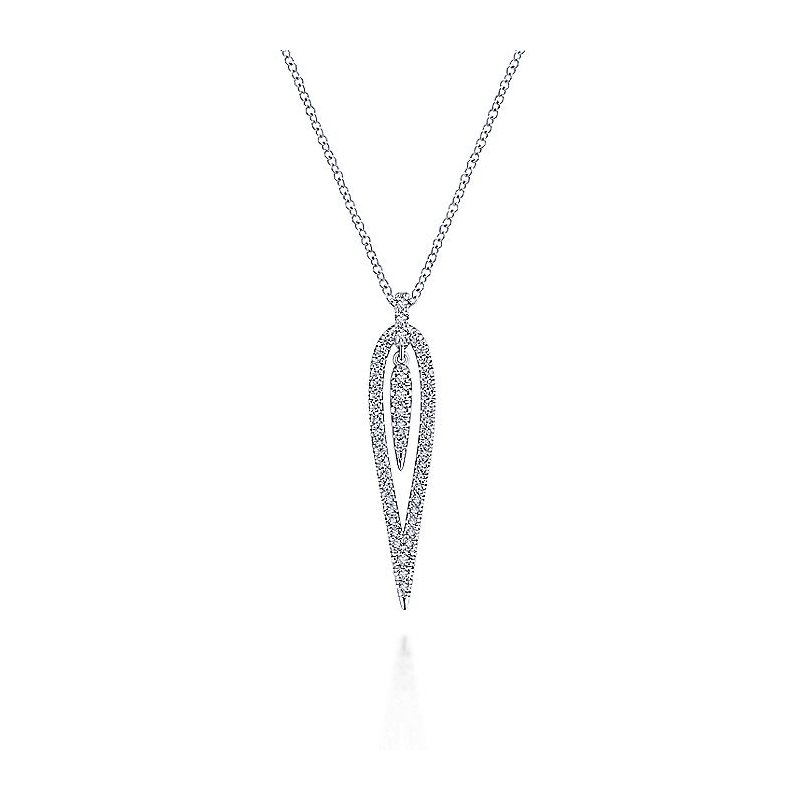 Gabriel Catalog White Gold Open Teardrop Diamond Pendant Necklace