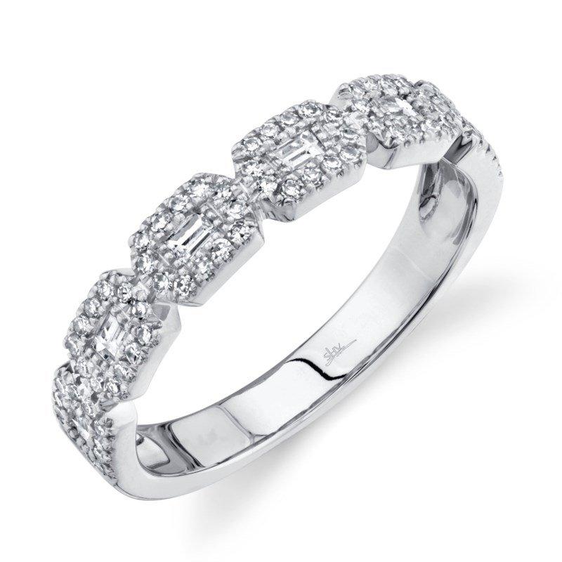 Shy Creation White Gold Diamond Baguette Ring