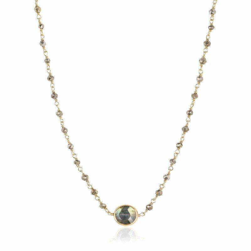 ela rae new york city Pyrite and Labradorite Libi II Necklace