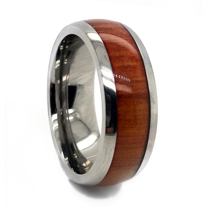 Lauray's Signature Collection Titanium Redheart Wood Band