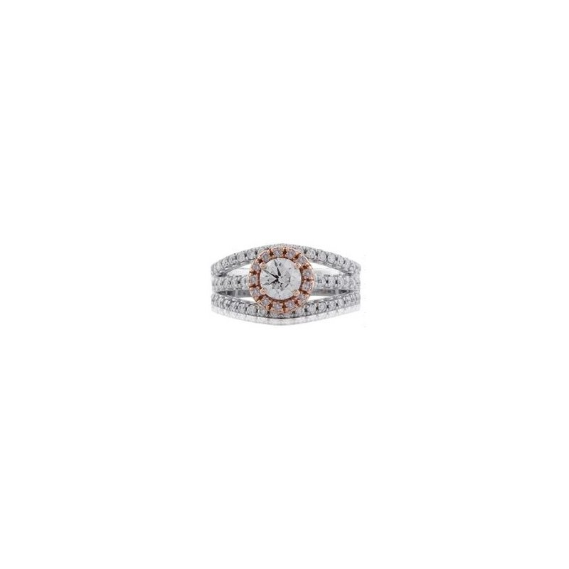 Lauray's Signature Collection Two Tong Gold Diamond Engagement Ring