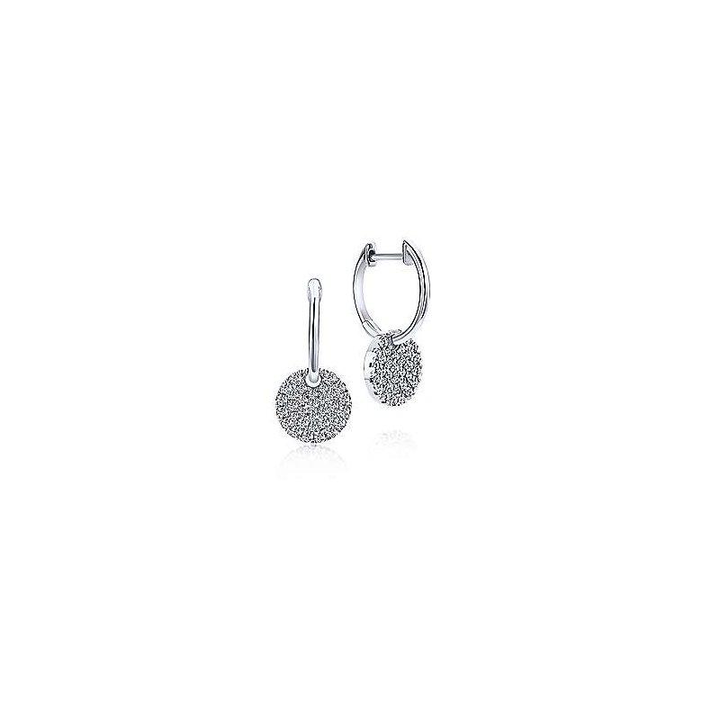 Gabriel Catalog White Gold Diamond Pavé Disc Drop Earrings