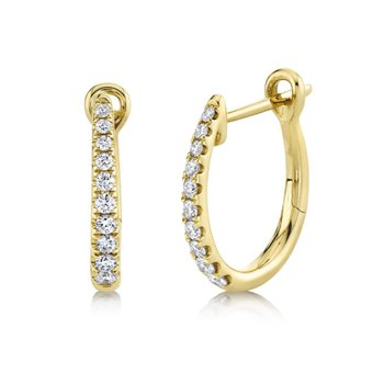 Yellow Gold Diamond Hoop Earrings