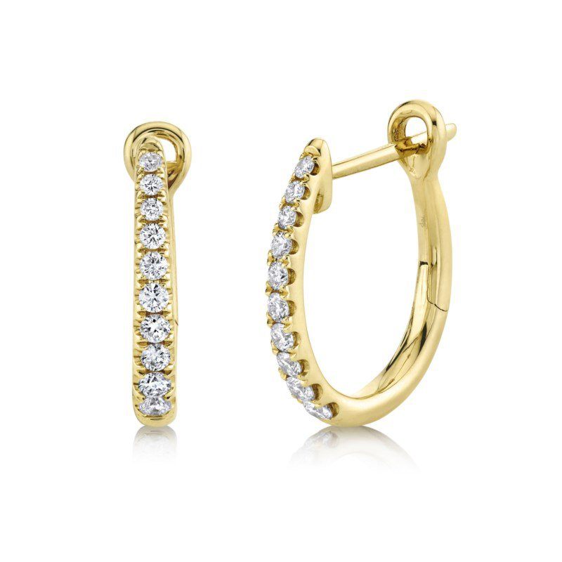 Shy Creation Yellow Gold Diamond Hoop Earrings