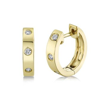 Yellow Gold Diamond Huggie