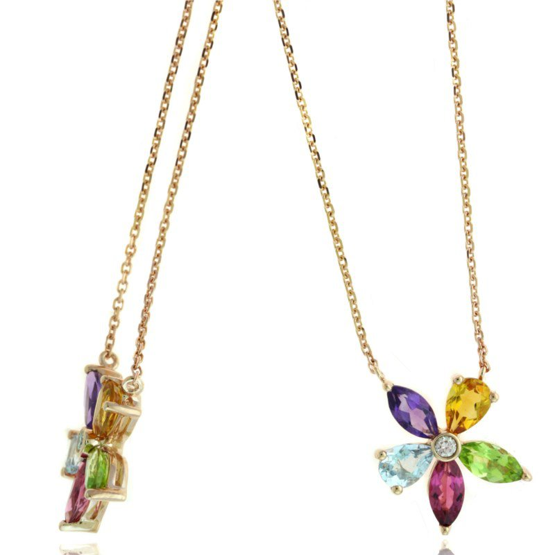 Lauray's Signature Collection Rose Gold Multi-Color Flower Necklace