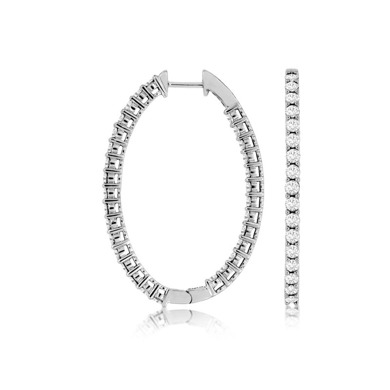 Lauray's Signature Collection Diamond Inside/Out Hoop Earrings