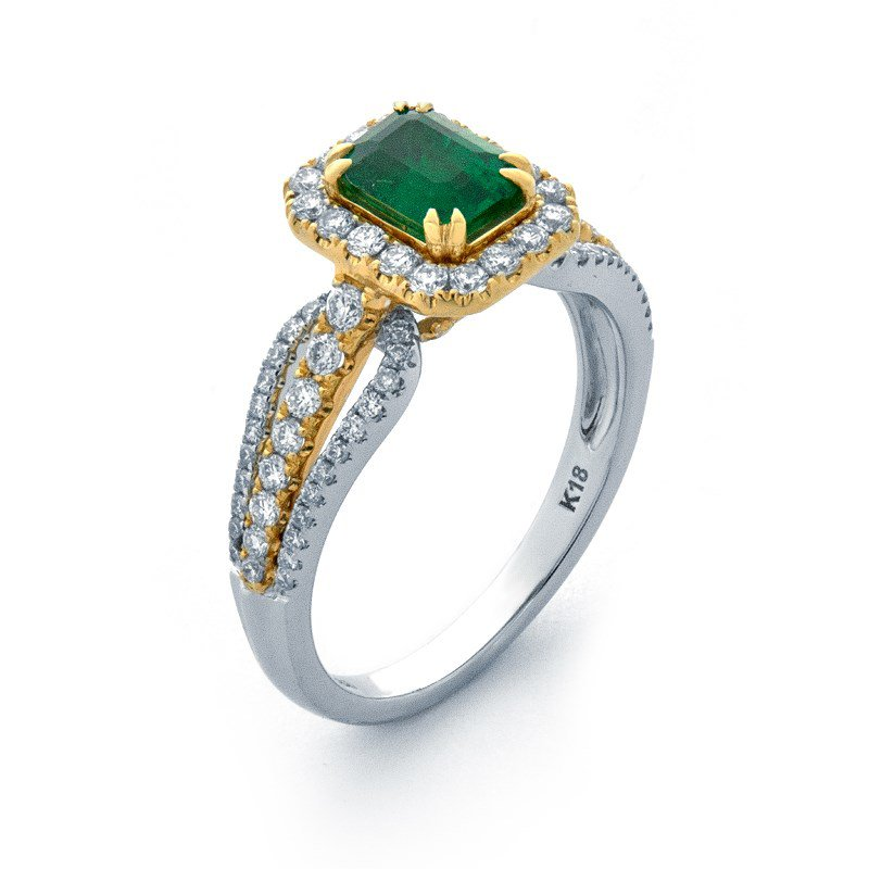 Lauray's Signature Collection Yellow and White Gold Emerald Ring