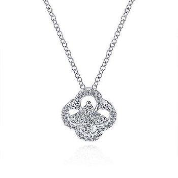 White Gold Open Clover Diamond Pendant Necklace