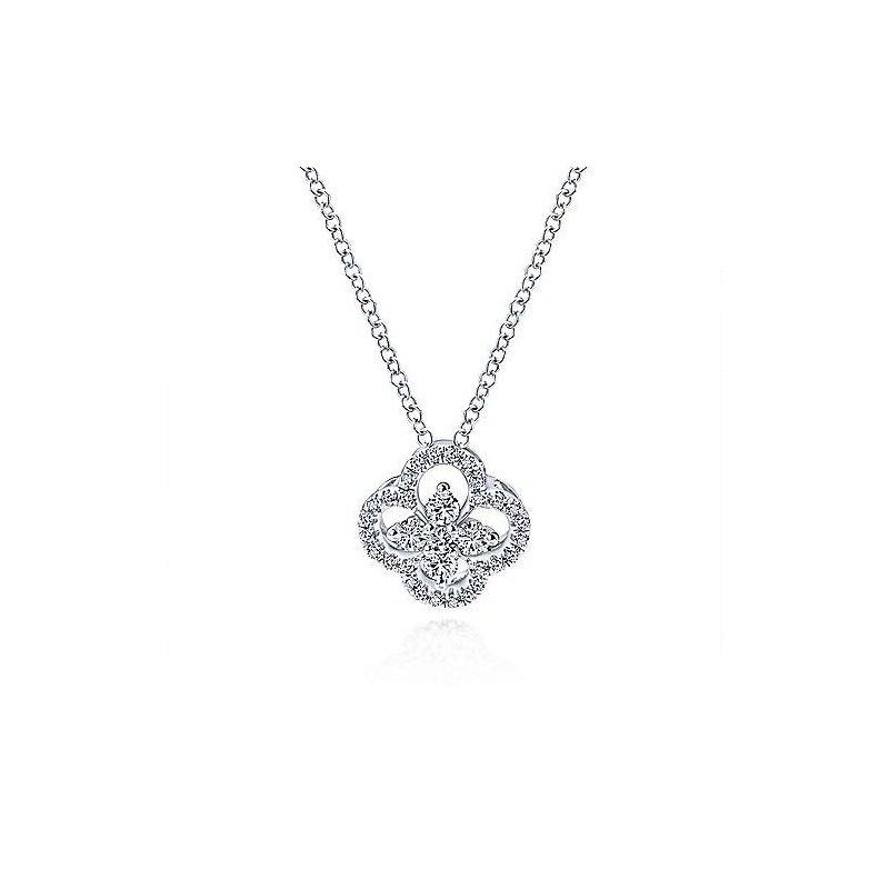 Gabriel Catalog White Gold Open Clover Diamond Pendant Necklace
