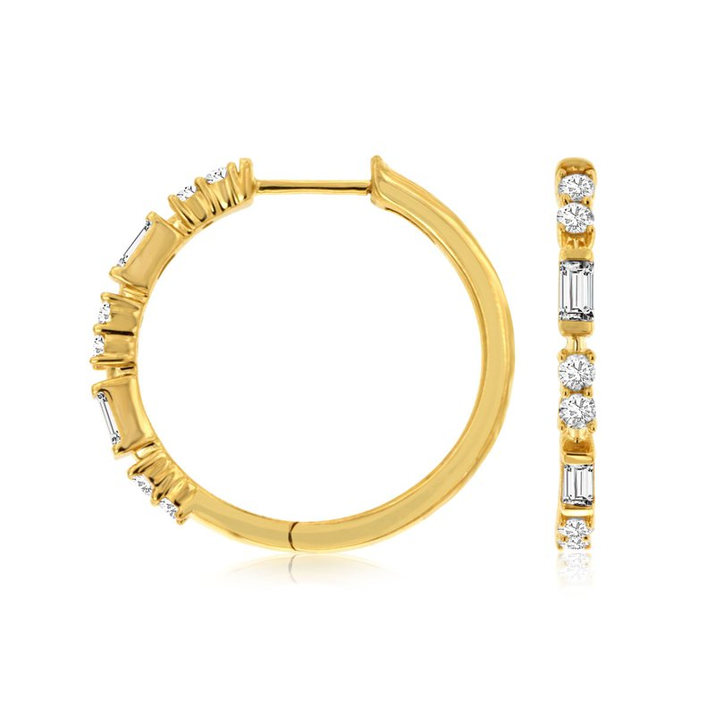 Lauray's Signature Collection Yellow Gold Diamond Hoop Earrings