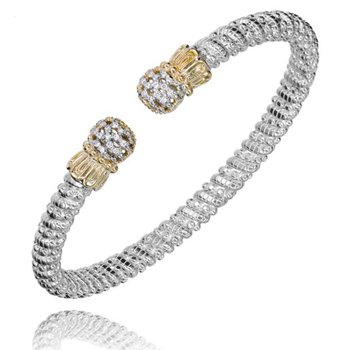 Yellow Gold and Sterling Silver Open Bangle Bracelet
