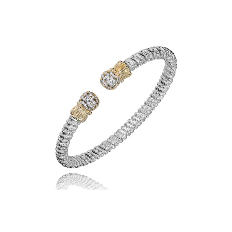 Alwand Vahan Yellow Gold and Sterling Silver Open Bangle Bracelet