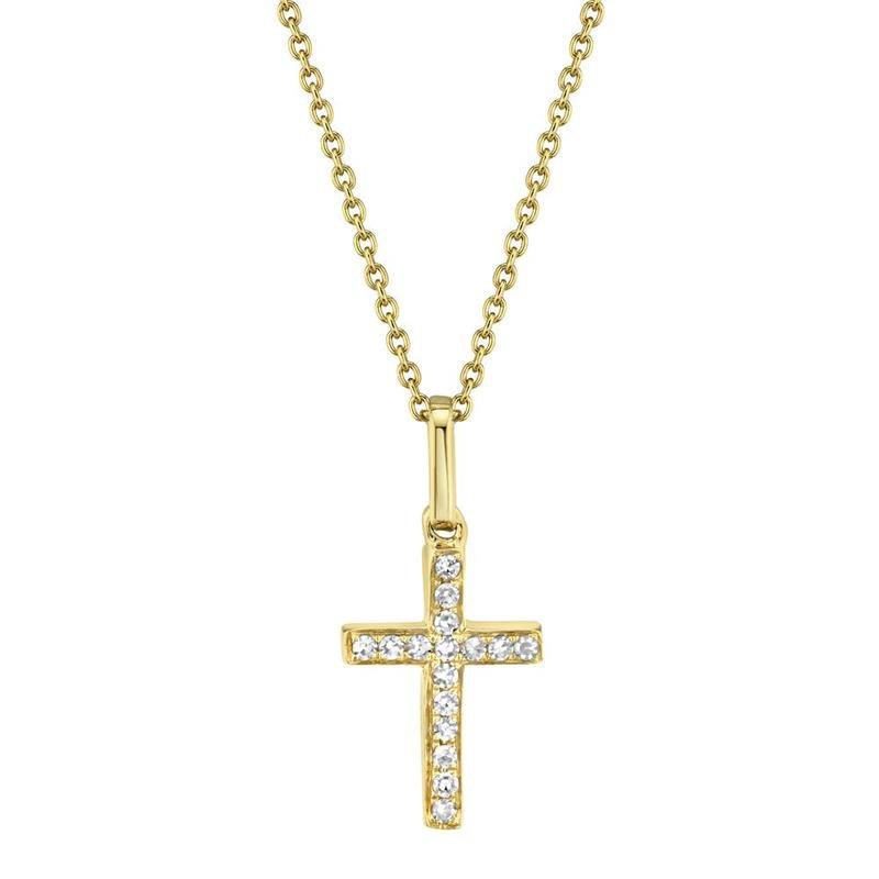 Shy Creation Yellow Gold Diamond Cross Necklace