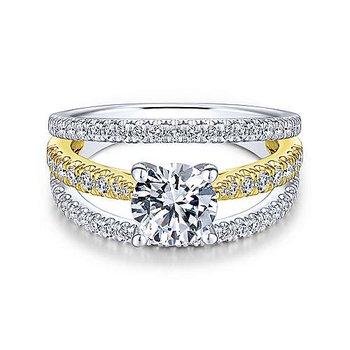 White-Yellow Gold Round Diamond Semi Mounting