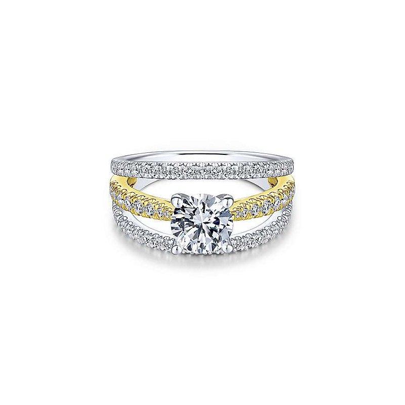 Gabriel & Co White-Yellow Gold Round Diamond Semi Mounting