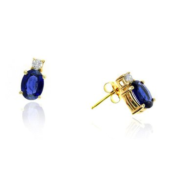 Yellow Gold Sapphire and Diamond Stud Earrings